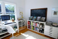 Clean lines from Ikea for a sunny room, made practical with a school blackboard
