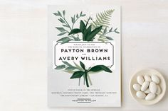 """Botanical Name Plate"" - Floral & Botanical, Rustic Wedding Invitations in Sage by Shiny Penny Studio."