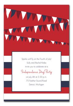 Fourth Flags party invitation | 4th of july
