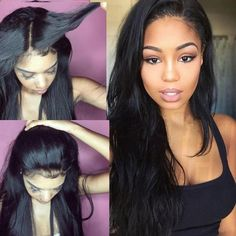 Silky Straight Glueless Lace Front wigs full lace wigs Human Hair ...