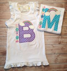 Rainbow initial shirt by KoutureKid on Etsy