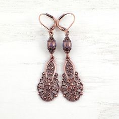ee25060b6 Lacy Victorian Filigree Drop Earrings with Lever Backs and Purple Czech  Glass by Ardent Hearts Designs