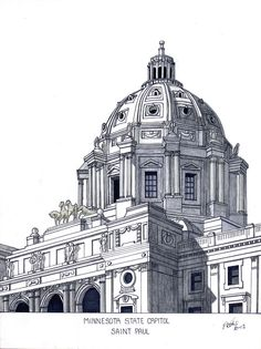 Minnesota State Capitol Drawing   Artwork by my 87 year old Grandfather, Frederic Kohli.  It's truly amazing how wonderful these are despite being blind in one eye.  He is incredibly remarkable.