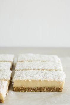 Vegan Vanilla Custard Slice that's gluten-free, soy-free, oil-free, only 8 ingredients and made healthier than the average dessert! Raw Desserts, Vegan Dessert Recipes, Gluten Free Desserts, Vegetarian Recipes, Healthier Desserts, Healthy Sweets, Healthy Food, Hazelnut Cake, Pecan Cake