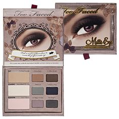 "Too Faced Matte Eye palette is a rare gem (all mattes hard to find!). ""Sueded"" shadows that blend nicely + every single color is pretty and useful. Also somehow great w/ every eye color and eye diagrams included for those who need direction. Add your own touch of loose shimmer if needed."