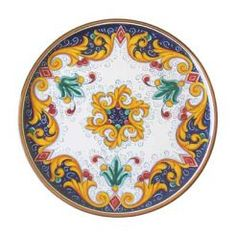 """CAKE PLATE: BAROCCO: 12"""" (31cm) Diameter.    This Piece is hand painted in Deruta.    MADE FOR SABBIA TALENTI"""