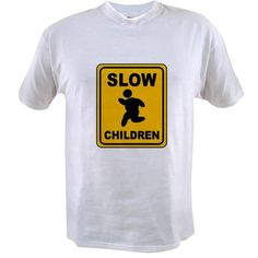 Slow Chubby Children Warning Sign T-Shirt Funny version of the Slow down for Children sign, features icon of a chubby child running. This sign warns you that the children are slow. By Mega-Shark.com
