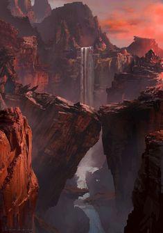 ArtStation - Red Canyon, HeeWann Kim Landscape, Cave, bridge, Cliff, Fantasy, Realistic, Whimsy, painted, River, Waterfall #FantasyLandscape