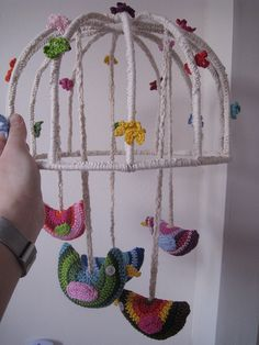 bird mobile cage crochet-no pattern but probably easy to duplicate. Can find the bird pattern all over Pinterest