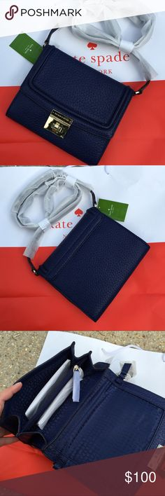 NWT 💯 Kate Spade Navy Crossbody Bag In Royal Navy blue pebbled leather with gold accents, Kate Spade does it again with this classic and chic Crossbody with double compartments. MSRP $228 before tax. Make it yours today for this fabulous discounted price! NO OFFERS OR TRADES ACCEPTED. PRICE IS FIRM. kate spade Bags Crossbody Bags