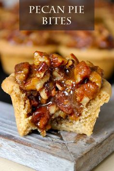 Pecan Pie Bites –every bite of pecan pie filling and buttery brown sugar cookie crust is heavenly! Don't let your guests miss out on this wonderful fall dessert recipe.