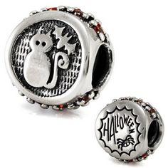Sterling Silver Halloween Flip Ohm Bead Charm ahs043