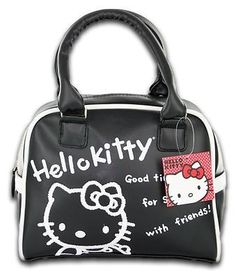 HELLO KITTY CLASSIC  87 Purse Tote Satchel Sanrio Black Leather Girls  Womens Bag 4ee6a43a65
