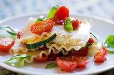 Summer Lasagna - young fresh basil, sweet cherry tomatoes, and zucchini