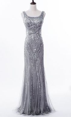 Grey Sequin and Beaded Embellished Floor Length Trumpet Evening Dress Featuring Sleeveless Bodice with Square sold by Alisa Dress. Shop more products from Alisa Dress on Storenvy, the home of independent small businesses all over the world. Pretty Outfits, Pretty Dresses, Embellished Dress, Sequin Dress, Mob Dresses, Bride Gowns, Groom Dress, Beautiful Gowns, Special Occasion Dresses