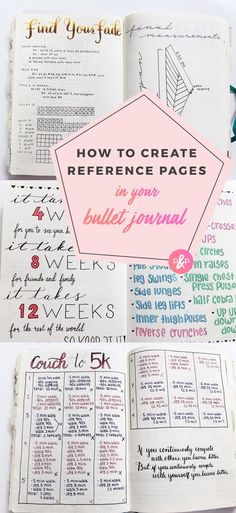 Reference Pages for Bullet Journals #bulletjournal #bulletjournalideas #planner