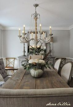 Light Grey Dining Room Walls: Some Subtle Fall Touches In Our Dining Room (Dear Lillie Dining Room Walls, Dining Room Design, Gray Dining Rooms, Dining Room Chandelier Rustic, White Chandelier, Room Chairs, Dining Room Inspiration, Decoration, Dear Lillie