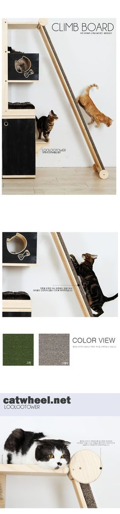 Cats Toys Ideas - I like the idea of making a ramp to encourage the use of their back claws. We may have to make it a little lower for our cats, but it still seems like a great way to encourage exercise. - Ideal toys for small cats Gatos Cat, Cat Towers, Ideal Toys, Cat Shelves, Cat Enclosure, Cat Room, Cat Condo, Pet Furniture, Furniture Ideas