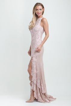 MacDuggal Floral Embellished Gown In Blush 1950 | Cari's Closet Dublin, Ireland