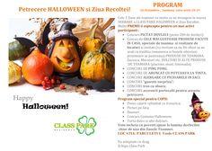 Sambata pe 26 Oct, de la 10-19 organizam petrecerea pt Ziua Recoltei si Halloween. Ne pregatim costumasele ? :)  La Petrecere sunt invitati toti locatarii Class Park, prietenii lor, precum si cei care doresc un camin si astfel vor cunoaste mai bine comunitatea noastra.