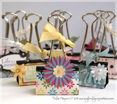 Binder Clips decorated and used as a picture holder ...