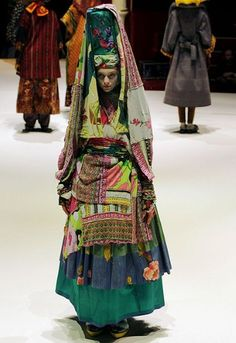 A model wears a creation by Italian designer Antonio Marras for Kenzo during the spring/summer 2011 show at Paris Fashion Week