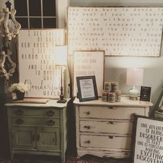 A glimpse into the shop. Wood art and antique painted pieces.  The Shabby Bee 🐝