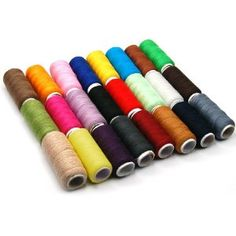 HM 24 Assorted Spools Polyester Sewing Thread Full Size, 200 Yds Per Unit
