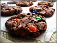 Double Chocolate M cookies. Used Dark cocoa-so rich and delicious. Next time leave out the M's and just make a chololate cookie. Or ty pb chips or butterscotch or toffee. Peanut Butter Balls, Peanut Butter Recipes, Chocolate Peanut Butter, Melting Chocolate, Cookie Recipes, Dessert Recipes, Desserts, Mnm Cake, No Bake Cookies