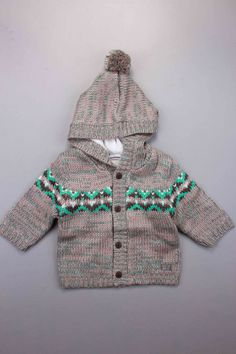 Boys & Children's Multi Coloured Newborn Baby Boy | Adams Kids Clothing | 3 Pommes Taupe Baby Knitted Hooded Jacket | Child's Ages: 0-3 Months, 3-6 Months, 6-9 Months, 9-12 Months