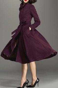 CHOCOLATONE - Wool Blend Midi Skirted Coat