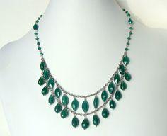Emerald green gemstone necklace genuine green by LetLooseJewelry