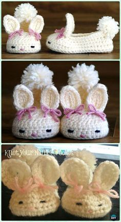 Crochet Baby Mittens Crochet Baby Bunny Slippers Free Patterns - Crochet Baby Easter Gifts Free Patterns - Crochet Kids Easter Gifts Free Patterns: Crochet Easter Blankets, Bunny hat, chick hat, bunny toy, slippers for babies and kids Poncho Crochet, Bunny Crochet, Crochet Gratis, Crochet Baby Booties, Crochet Slippers, Crochet For Kids, Free Crochet, Bunny Slippers, Crochet Flowers