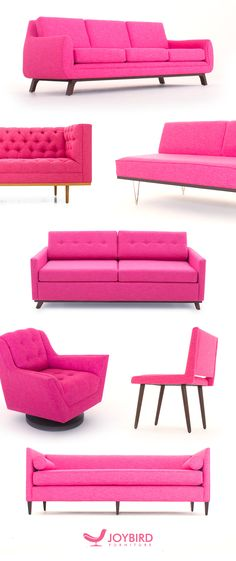 View all sofas and sectionals available from Joybird. Browse through our entire collection for a fully customizable piece that will look perfect in your living room or any space in your home or apartment. Pink Furniture, Furniture Making, Furniture Deals, Office Furniture, Mid Century Modern Sofa, Decoration Inspiration, Pink Houses, Layout, Everything Pink