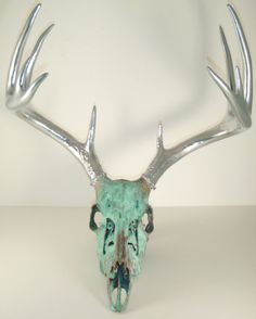 Copper Aged with Green Patina and Chrome Deer by MayaJadeCreations