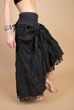 Avant Garde Asymmetric Ruched Slit Unblance Skirt Low High Career Cocktail Dress