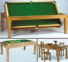 this classy dining table hides a pool table underneath, soooo cool