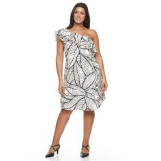 Plus Size Apt. 9 One Shoulder Ruffle Dress, Women's, Size: 3XL, Natural