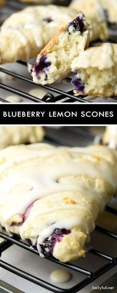 Blueberry Lemon Scones - tender flaky scones with fresh blueberries and a dreamy lemony glaze! Blueberry Lemon Scones - tender flaky scones with fresh blueberries and a dreamy lemony glaze! Breakfast And Brunch, Baking Recipes, Dessert Recipes, Scone Recipes, Kitchen Recipes, Recipes Dinner, Tea Time Recipes, Tasty Kitchen, Kraft Recipes
