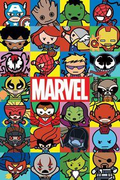 comics and cartoons Marvel - Characters (Kawaii) Poster Logo Marvel, Poster Marvel, Marvel Art, Marvel Heroes, Spiderman Marvel, Avengers Cartoon, Marvel Cartoons, Marvel Funny, Marvel Drawings