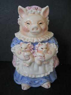 Pig Cookie Jar Mother Pig Holding Her 2 Little Babies