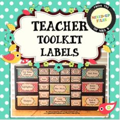 This classroom organizer teacher toolkit will keep your desk and teacher area looking cute with the Summer Garden theme! Labels are designed to use with Lowe's 22-drawer plastic storage cabinet and include labels for common classroom teacher supplies, as well as a set of editable labels so that you can add your own personal favorites. -- from Mixed-Up Files ($)