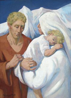 Sacred Family (2011) by Lydio Bandeira de Mello (b. 1929), Brazilian works in the fresco tradition (bandeirademello)