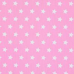Cotton Stars medium 5 - roosa - Pinkki - Puuvillakangas tähdet - kankaita.com