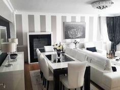 Wohnzimmer Grau Weiß, Esstisch In Schwarz Und Weiß, Sechs Stühle, Wand Mti  Streifen