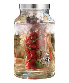 Quench the family's thirst in sophisticated style. Filled with iced tea or lemonade, this glass jar is just the thing for keeping cool on hot summer days. Plus, it features a glass core for fantastic fruit infusions!Includes jar and infuser insertHolds 1.5 gal.GlassHand washImported