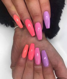 How beautiful are these! Emmie created this set using 'Coral T - Summer Acrylic Nails Summer Acrylic Nails, Best Acrylic Nails, Pastel Nails, Purple Nails, Coral Acrylic Nails, Holiday Acrylic Nails, Sparkly Nails, Holiday Nails, Spring Nails