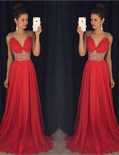 $159.99 Beding Straps A-line Chiffon Prom Dresses 2017