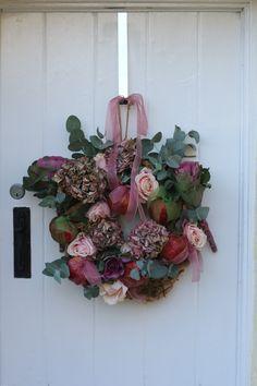 Pomegranate & Rose Christmas Door Wreath by Cherry Menlove