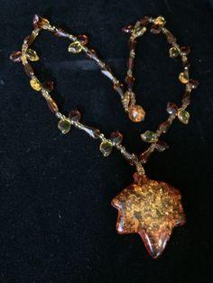 Art Deco Vintage Amber Confetti Lucite Pendant Glass Bead Statement Necklace
